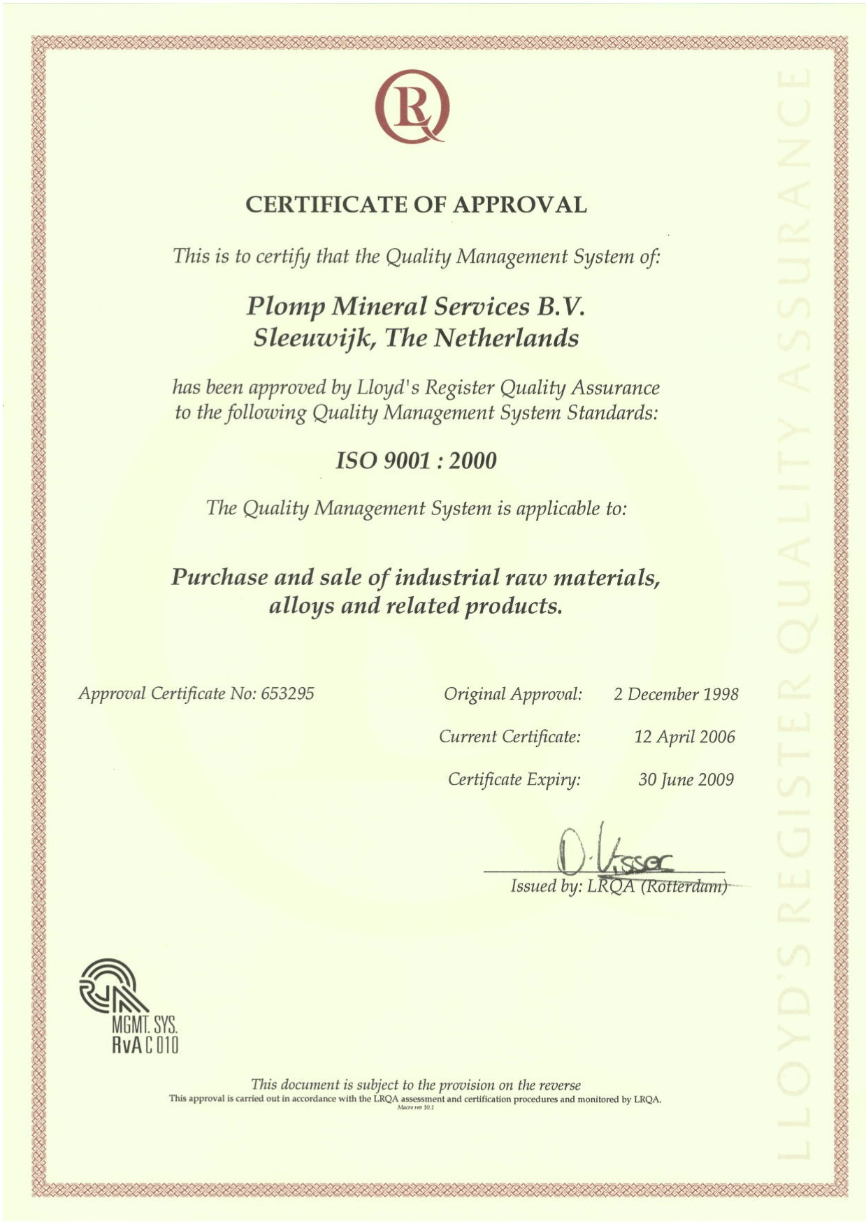 PMS ISO Certificate 2006-2009